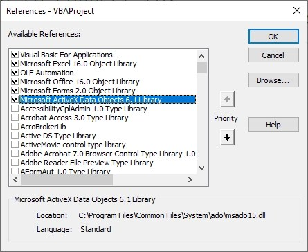 Connecting Excel VBA to MySQL Database