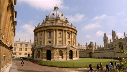 where lewis and girl are walking building is radcliffe camera