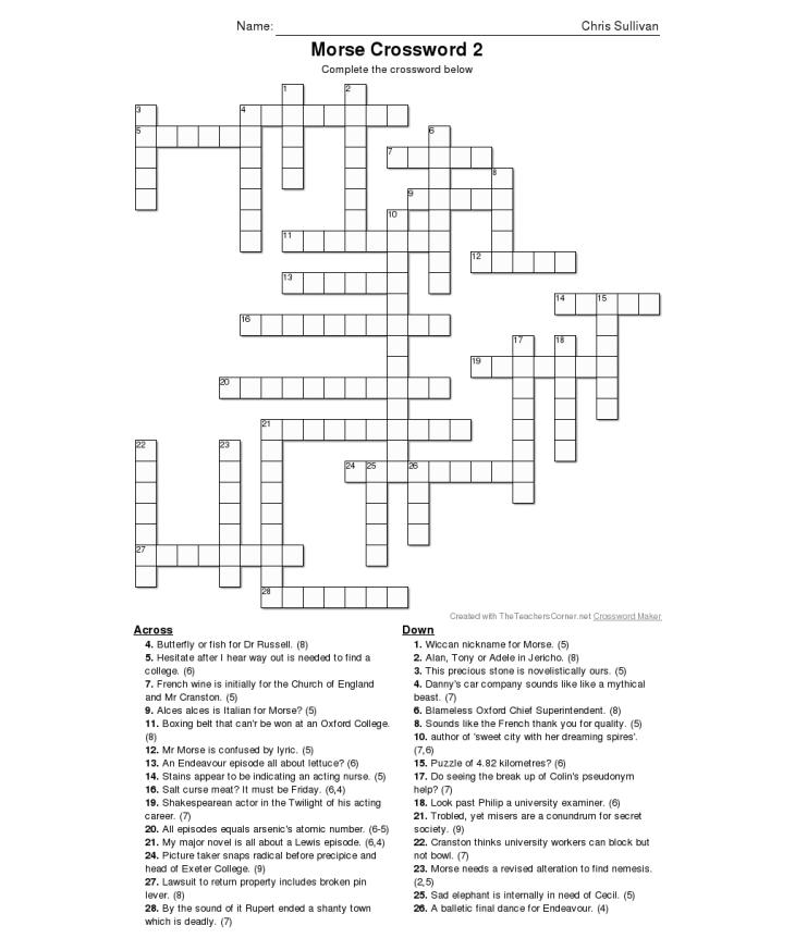 Morse Crossword 2