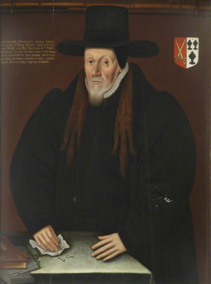unknown artist; Alexander Nowell, DD, Benefactor, Principal (1595), Dean of St Paul's; Brasenose College, University of Oxford; http://www.artuk.org/artworks/alexander-nowell-dd-benefactor-principal-1595-dean-of-st-pauls-221739