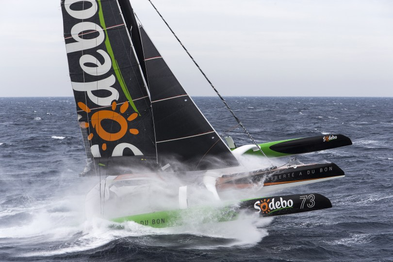 Training for the maxi tri SODEBO, skipper Thomas Coville, prior to his solo circumnavigation record attempt, off Belle Ile, on october 12, 2016 - Photo Jean-Marie Liot / DPPI / SODEBO