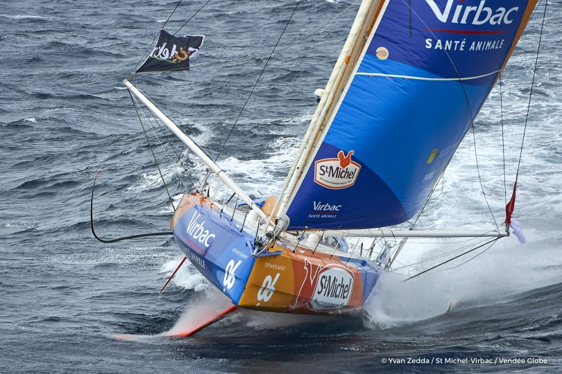 Sailing aerial images of the IMOCA boat St Michel - Virbac, skipper Jean Pierre Dick (FRA), during a solo training strong wind for the Vendee Globe, off Belle-Ile in South Brittany, on September 16, 2016 - Photo Yvan Zedda / St Michel-Virbac / Vendée Globe Images aériennes de l'IMOCA St Michel - Virbac, skipper Jean Pierre Dick (FRA), pendant un entrainement au Vendée Globe par vents forts, au large de Belle-Ile, le 16 Septembre 2016 - Photo Yvan Zedda / St Michel-Virbac / Vendée Globe