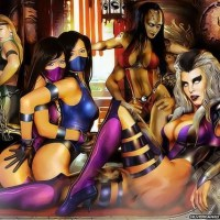 Shiva, Sonya, Kitana, Mulina and queen Cindel all unite for an amazing sexual lesbian fantasy! The queen Cindel teaches the young fighters!