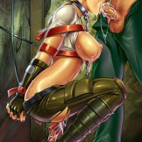 Sonya Blade was captured... and now she has to suck cocks while sitting on a giant dildo all the time!