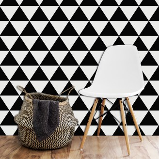 Black Triangle made to measure wallpaper - bold 2017 geometric design for maximum impact available in th UK at forthefloorandmore.com