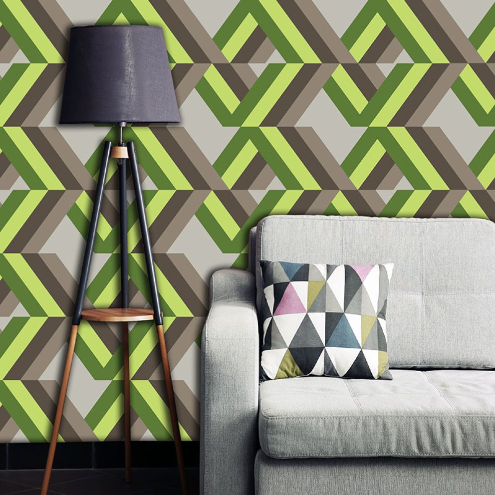 Grafyx Green made to measure wallpaper mural- bold 2017 geometric design for maximum impact and drama available in th UK at forthefloorandmore.com