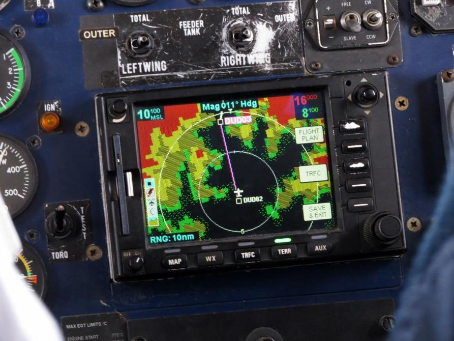 Radar der Dornier beim Anflug auf Lukla