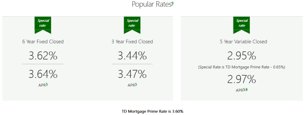 TD Mortgage Rates - promotion 2018-02-28