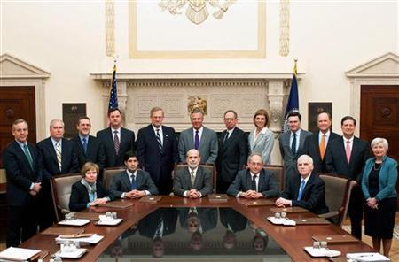Federal Reserve Board's Federal Open Market Committee members pose during two-day meeting in Washington.