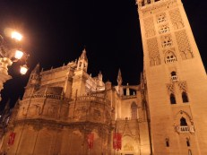 Seville Cathedral at night.