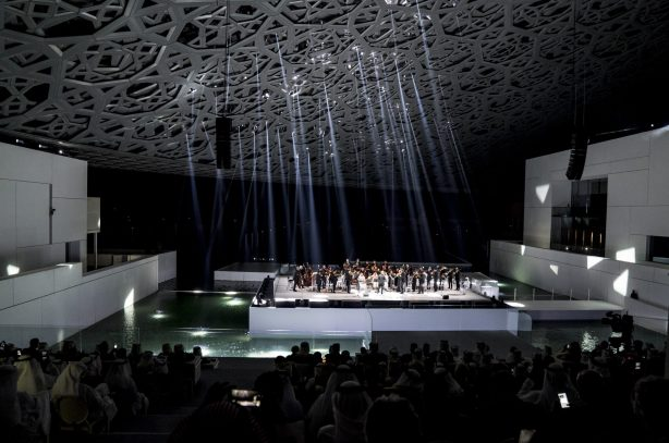 SAADIYAT ISLAND, ABU DHABI, UNITED ARAB EMIRATES - November 08, 2017: The Insula Orchestra, perform during the opening ceremony of the Louvre Abu Dhabi. ( Hamad Al Kaabi / Crown Prince Court - Abu Dhabi ) —
