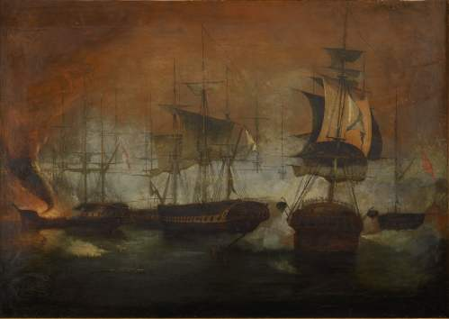 Unknown artist The naval battle at Navarino Oil on canvas 79x111 cm © Alpha Bank Collection