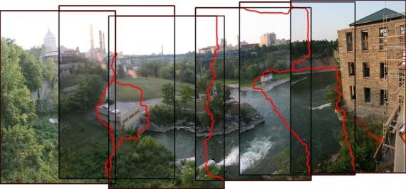 Ejemplo de registrado geométrico y linea de pegado en la creación de un panorama.