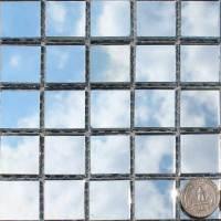 Plain Bottom Mirror Tiles on mesh sheet - Mosaic Art Supply