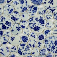 Blue and White Floral China Pebbles Porcelain Tiles