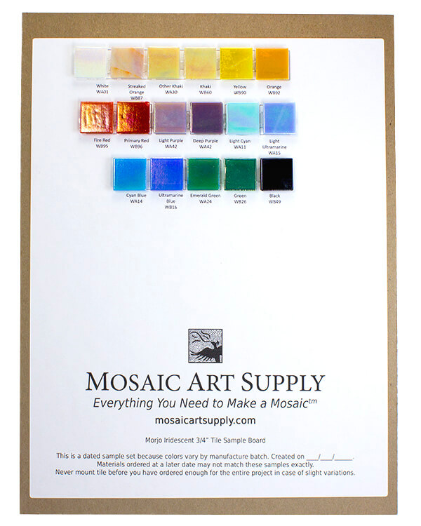 sample board morjo iridescent glass tiles 3 4 inch