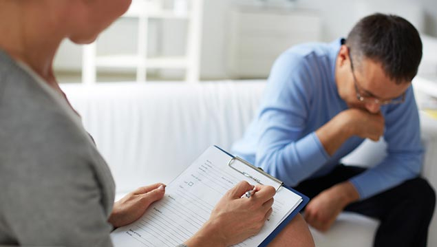 Man receiving EAP Counselling