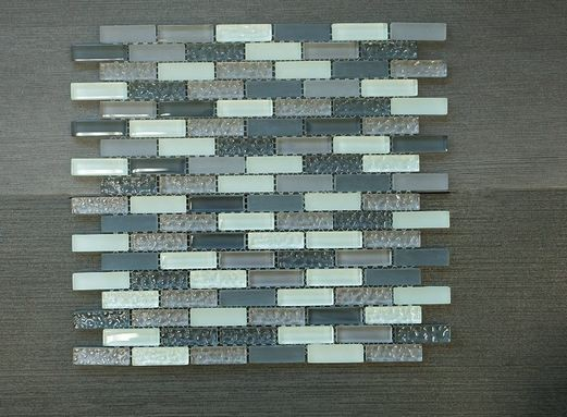 Crystile Grey 12in x 2in Grey Brown  Blue Glass Mosaic Tile