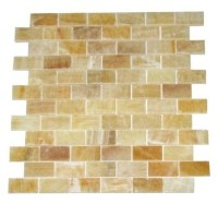 1x2 Honey Onyx Polished Mosaic Tiles