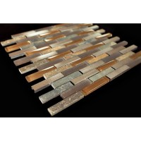 Bronze Aluminum Multi Color Slate Glass Backsplash Mosaic ...