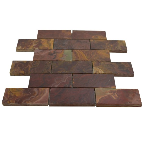 2x4 Red Polished Square Pattern Mesh-mounted Onyx Mosaic Tiles