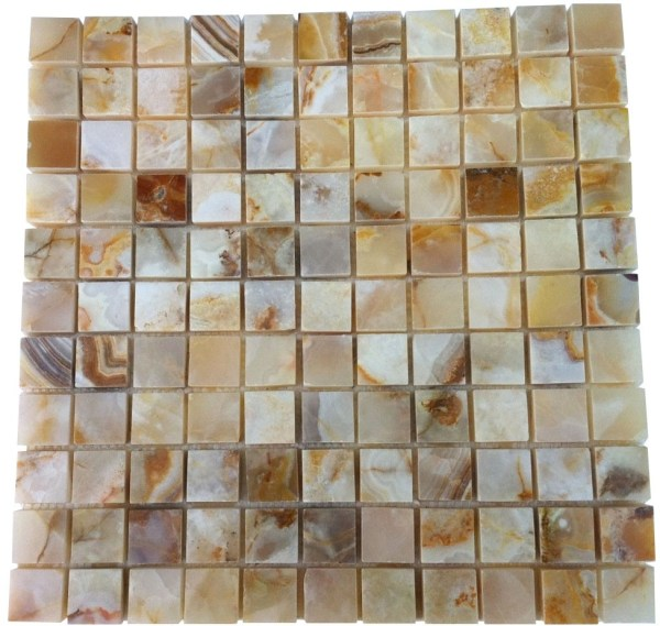 1x1 Rustic White Onyx Polished Mosaic Tiles Meshed