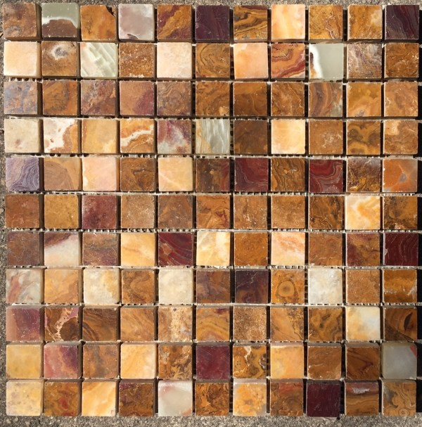 4x4 Sample Of 1x1 Multi Colored Red Onyx Polished Mosaic Tiles