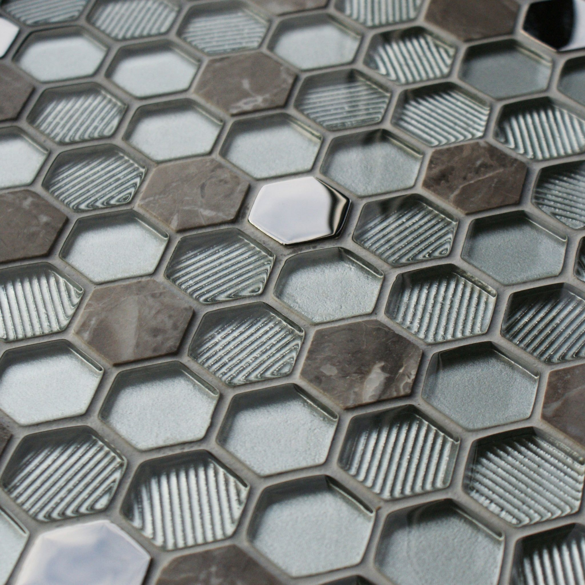 Honeycomb Silver Mosaic Tiles Mosaic Village
