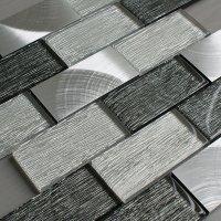 Portland Grey Glass Brick Tile  Mosaic Village