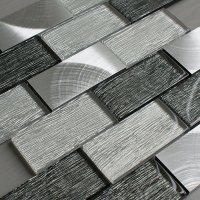 Portland Grey Glass Brick Tile  Mosaic Village