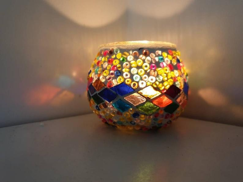 Mini Bougeoirs mosaïques artisanales – multicolore