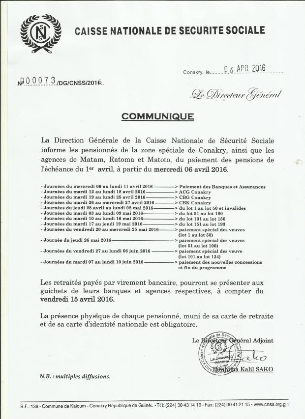 communiqué  cnss