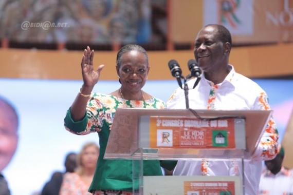 Henriette Dagri Diabaté nouvelle présidente du RDR en compagnie du président Alassane Ouattara