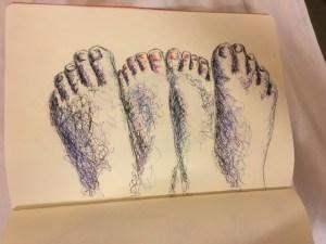 Cours dessin Paris : pieds par un élève