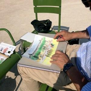 Peindre à l'aquarelle en 7 points aux Tuileries et tester le matériel