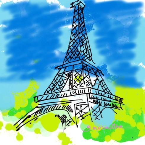 Tour Eiffel, comment dessiner digital