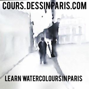 Cours Stages aquarelle Dessin à Paris. Rue de Rivoli