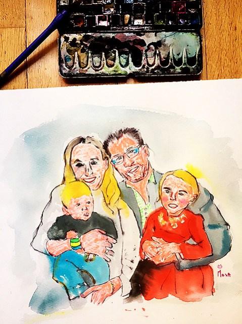 offrir un cours de dessin ou un portrait de famille