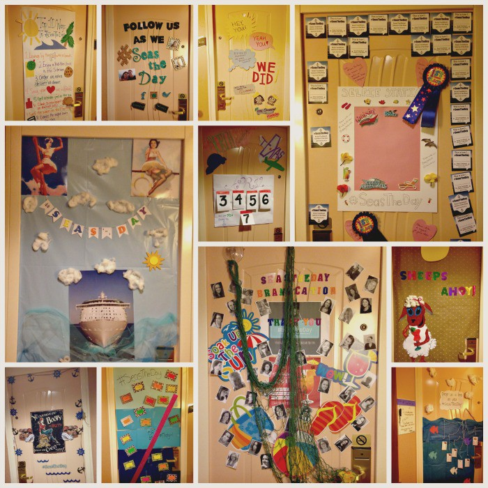 cruise door decorating contest collage
