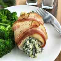 Keto Bacon Wrapped Stuffed Chicken