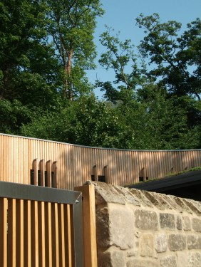 Reclaimed stone and Siberian larch to visitors Centre