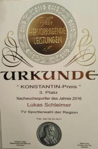 Lukas Schleimer Urkunde Landessportlerwahl
