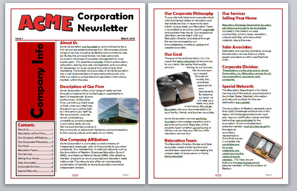 WORD Creating A Table Of Contents For A Newsletter In