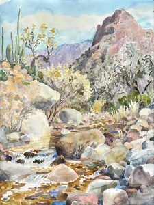 Watercolor of Canyon Del Oro wash by artist Rick DeMont