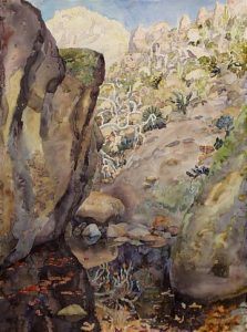 Watercolor Landscape of large boulders around a small pond by artist Rick DeMont