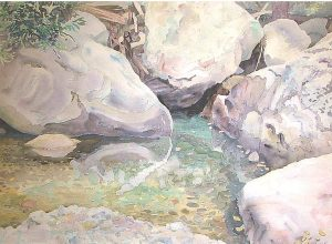 Watercolor Landscape of Sabino Canyon rock pools by artist Rick DeMont