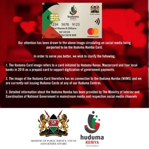 Huduma Namba Givernmnet responds