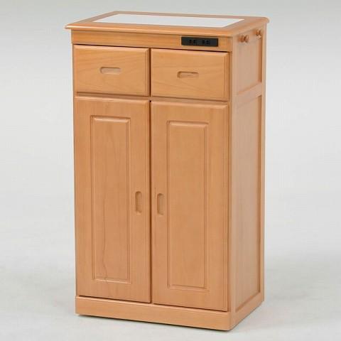 キッチンカウンター  幅52cm 引き出し・観音開き収納タイプ 色:ナチュラル コンセント付き