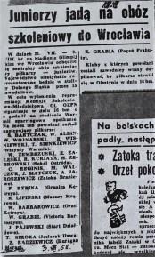 1958. Powołanie na obóz juniorów we Wrocławiu.