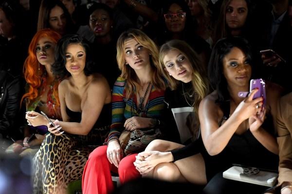 Hennessy Carolina, Cardi B, Paris Jackson, Gigi Hadid and Tiffany Haddish at Jeremy Scott Show NYFW 2018 Mosnar Communications